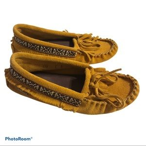 LAURENTIAN CHIEF suede leather fringe moccasins